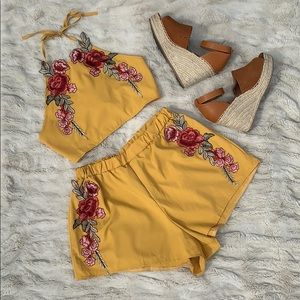 Pants - Yellow Floral Embroidered Two-Piece Halter Set 🌺